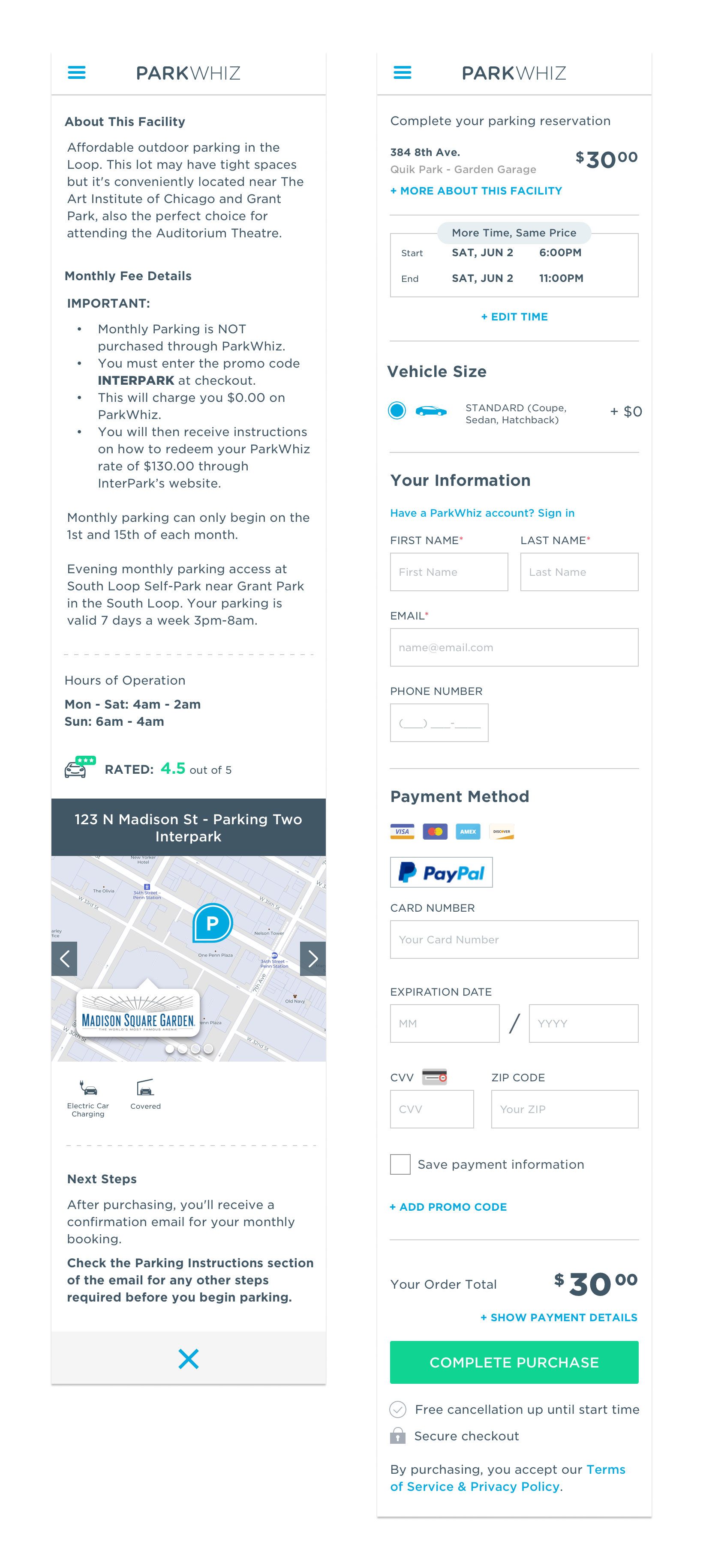 """// On the left is a preview of the transient checkout page on mobile web. On the right this page is what the user sees when they select the """"More About This Facility"""" link, which expands in the right column on the desktop view."""