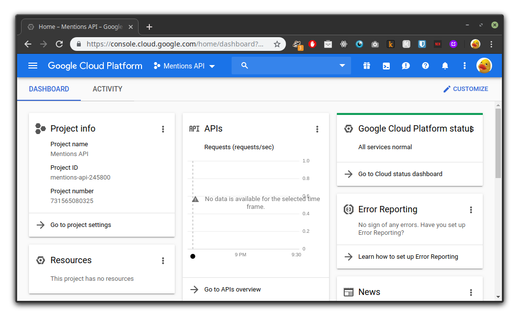 Dashboard do Google Cloud Platform