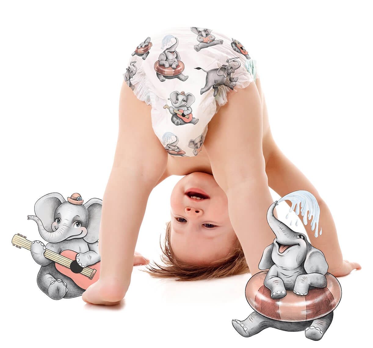 Baby with elephant pattern diapers
