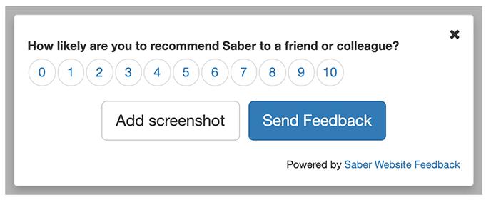 Saber Feedback's Net Promoter Score form