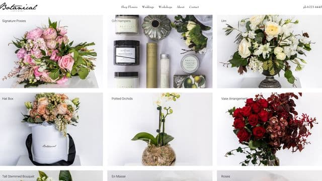 Screenshot of online store for Botanical Hobart