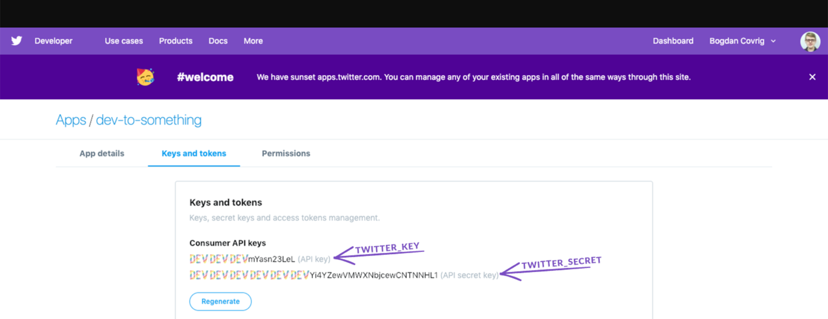 Add Twitter Key and Secret to .env file