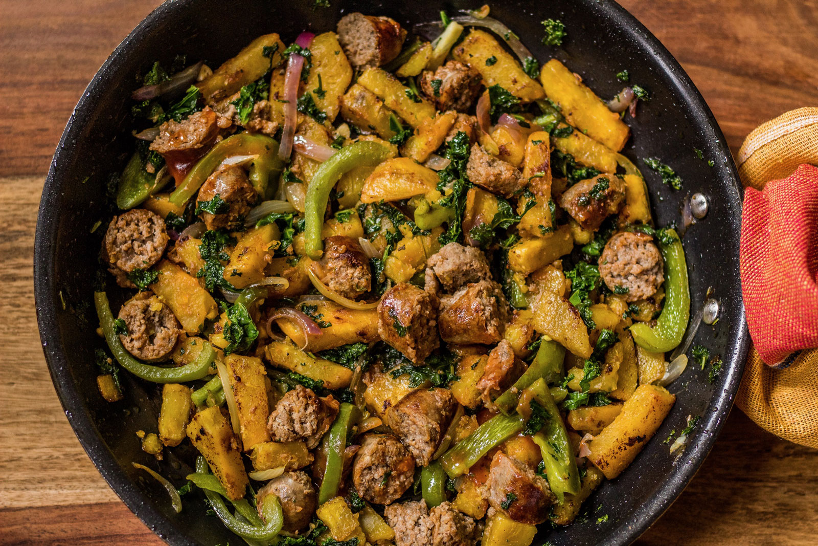 Rosemary sage sweet potato kale and sausage hash