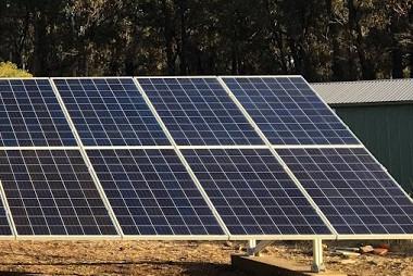 Solar panels on ground mounts