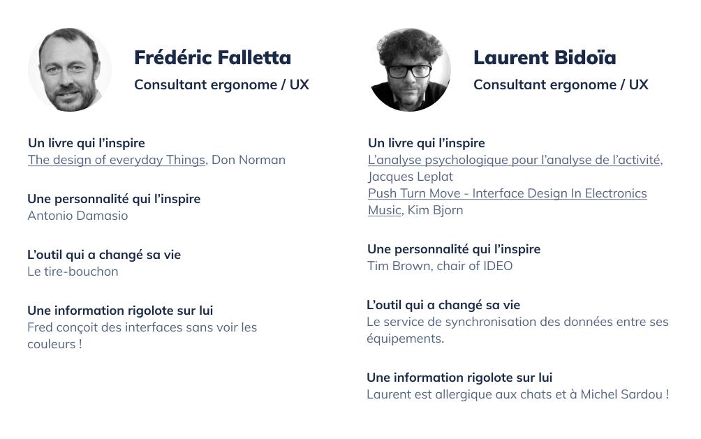 Présentation de Frédéric Falletta et Laurent Bidoïa, consultants ergonome UX chez Affordance