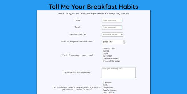 Screenshot of my project Breakfast Survey