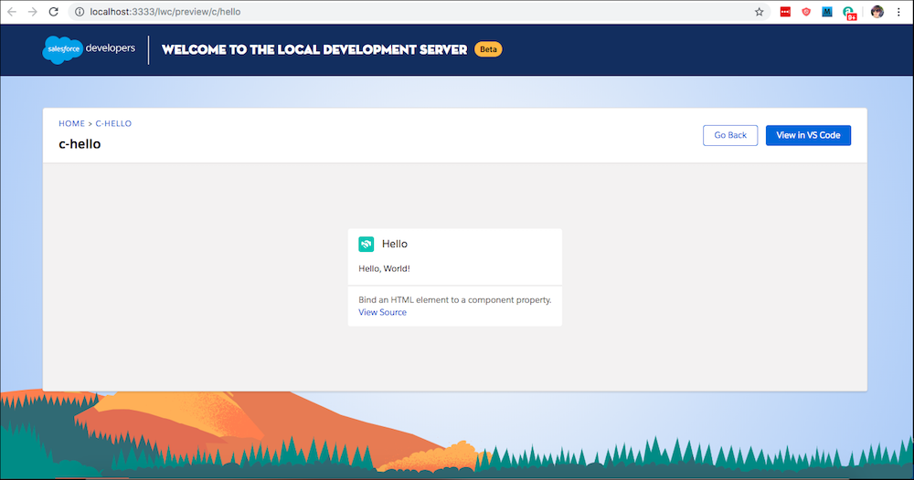 Previewed component in local development in a browser.