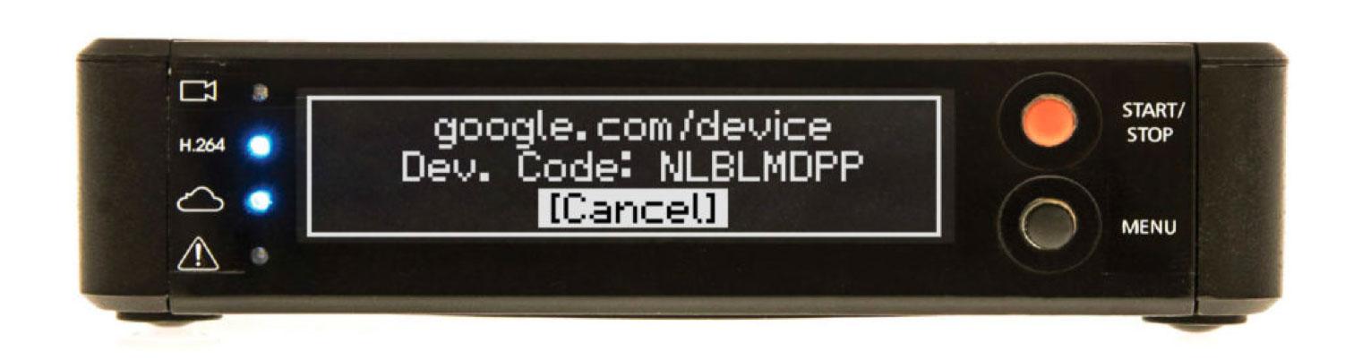 Logging in to Google on a Teradek video encoder