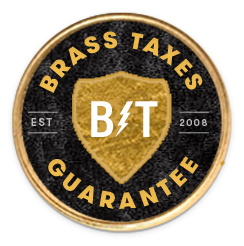 Brass Taxes Guarantee badge