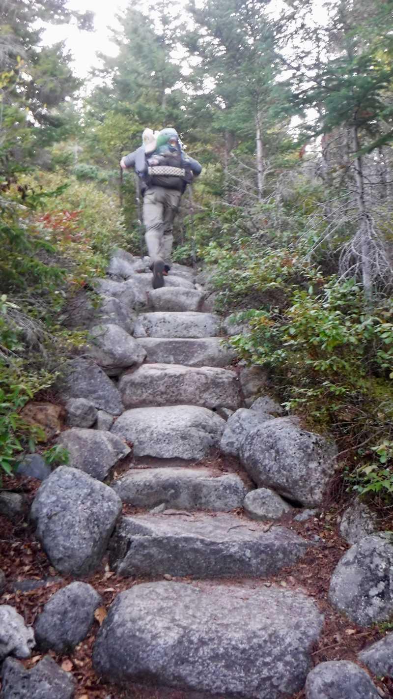 Stick climbs Mt. Katahdin steps