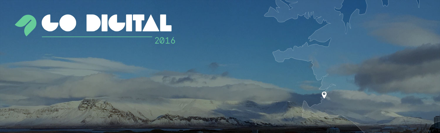 Panoramic photo of Iceland mountains with conference logo over it.