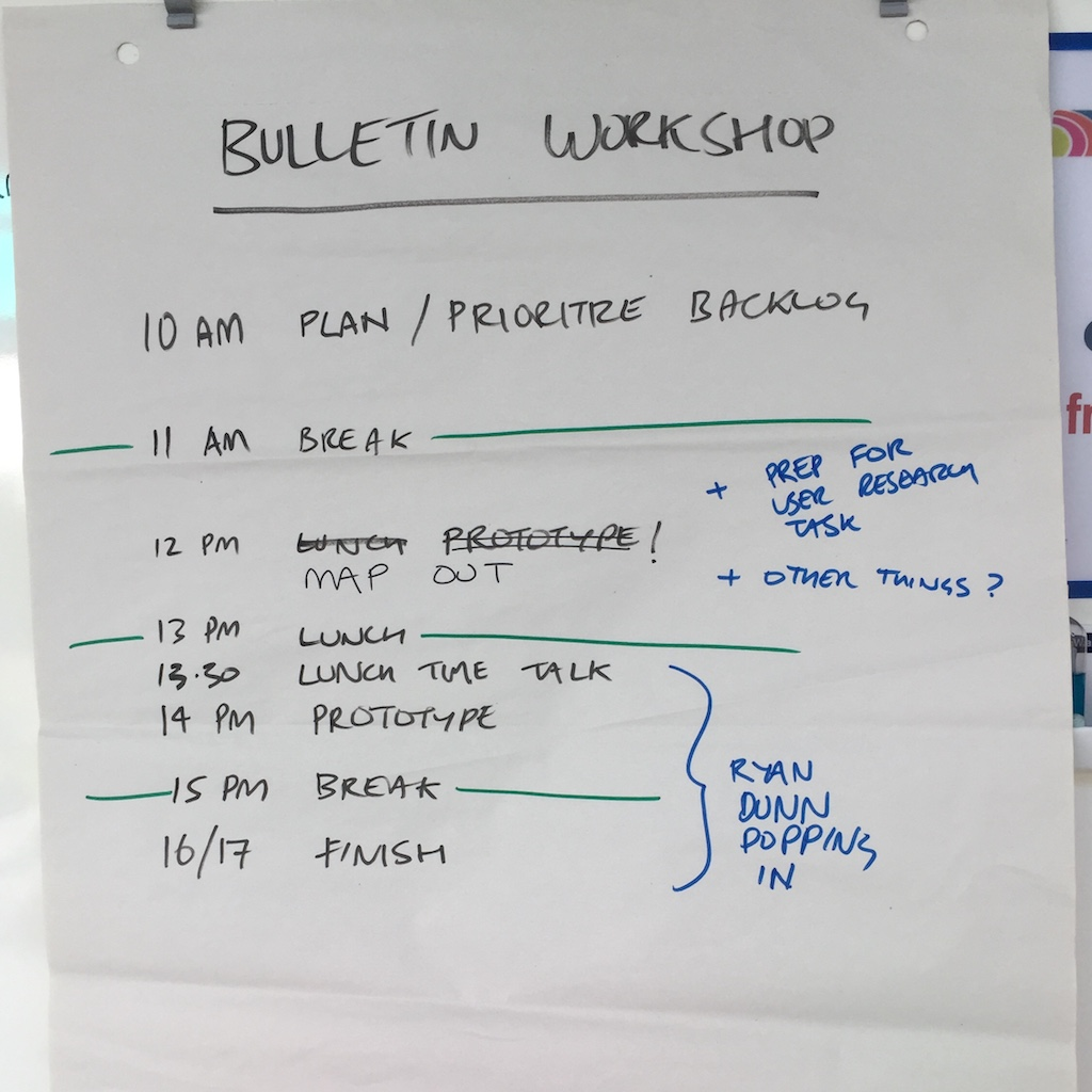Our plan for the bulletin workshop