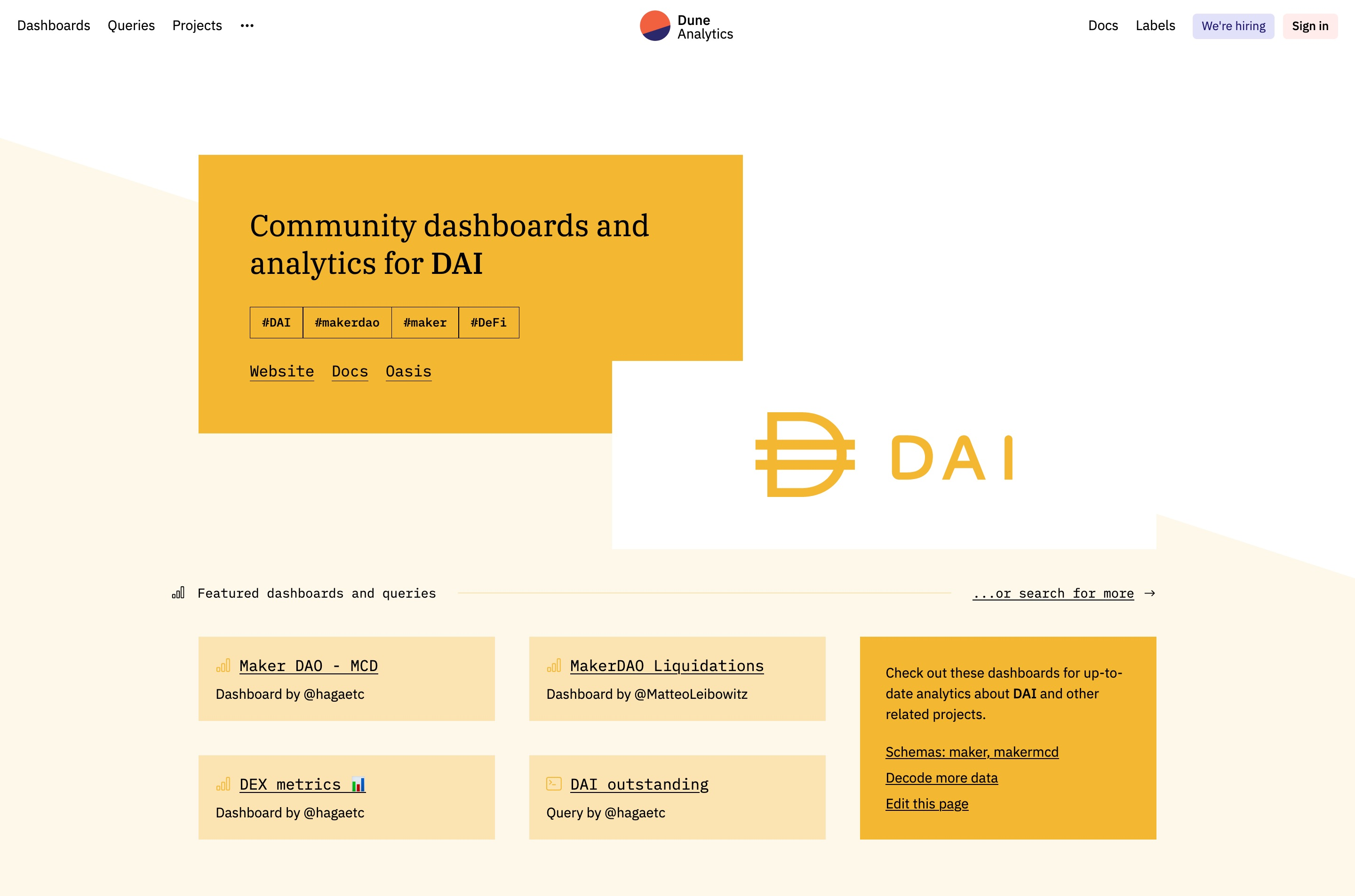 Branded project page for DAI with links to dashboards