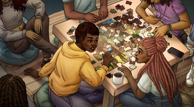 Illustration of a group of people putting together a puzzle, representing the need for the community to piece together the gaps in Black History in BC.