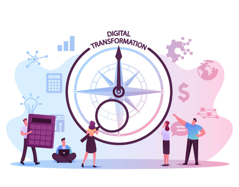 A group of people examining a compass that points to digital transformation