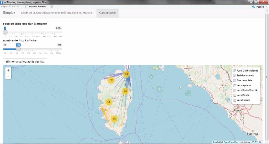 """Une capture d'écran qui montre dans la moitié inférieure une carte de la Corse sur laquelle on aperçoit des points jaunes et des traits de couleurs qui rayonnent à partir de ces points. Sur la droite de la carte apparaît un menu qui comporte notamment le texte """"vers Ajaccion"""", """"vers Bastia""""."""