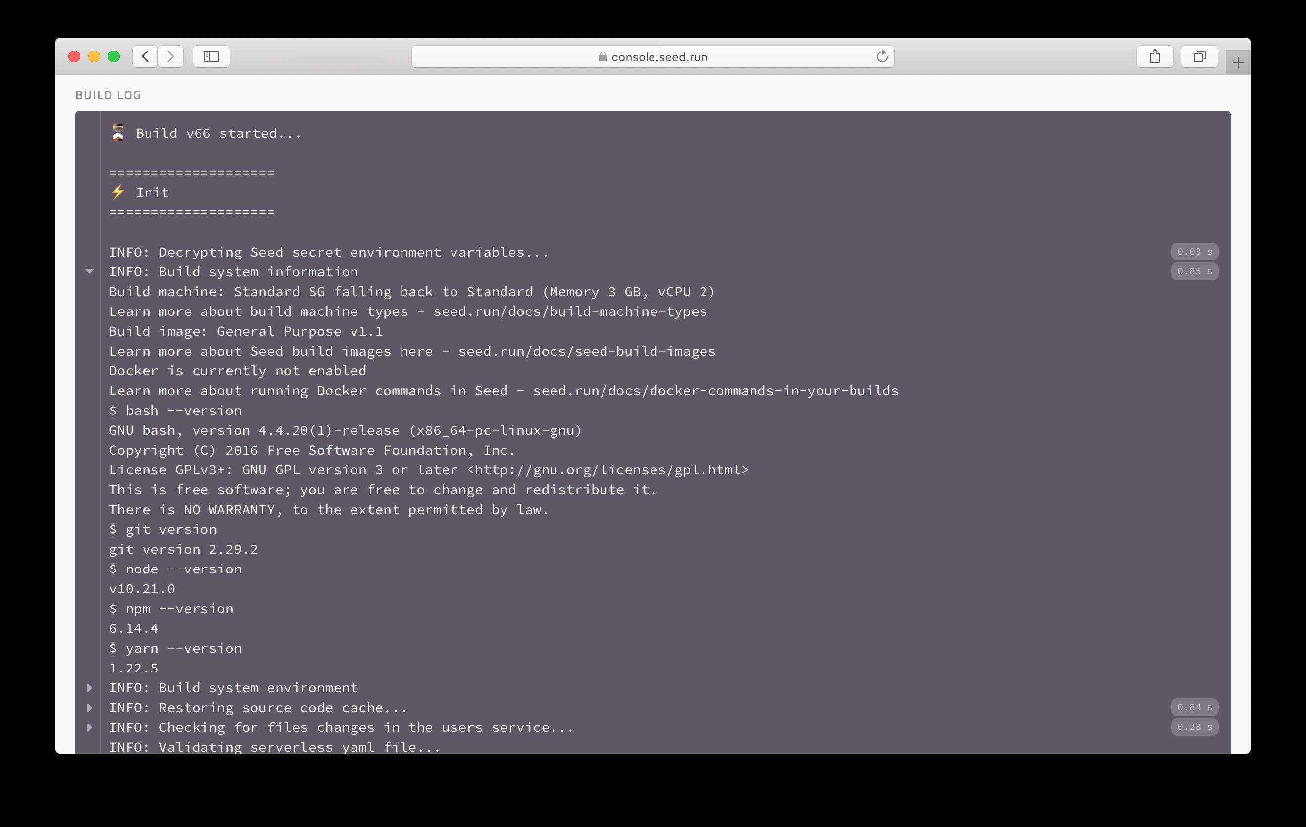 Build machine fallback info in build log