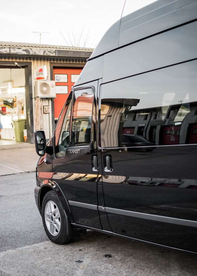 Front of Ford Transit van with with paintwork shine/gloss restored by polishing, paint correction and paint enhancement