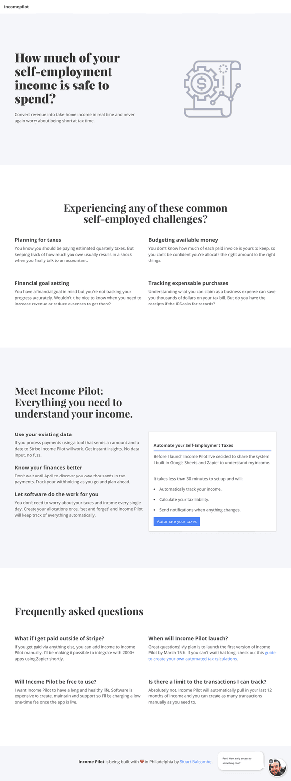 Landing page design for MyIncomePilot