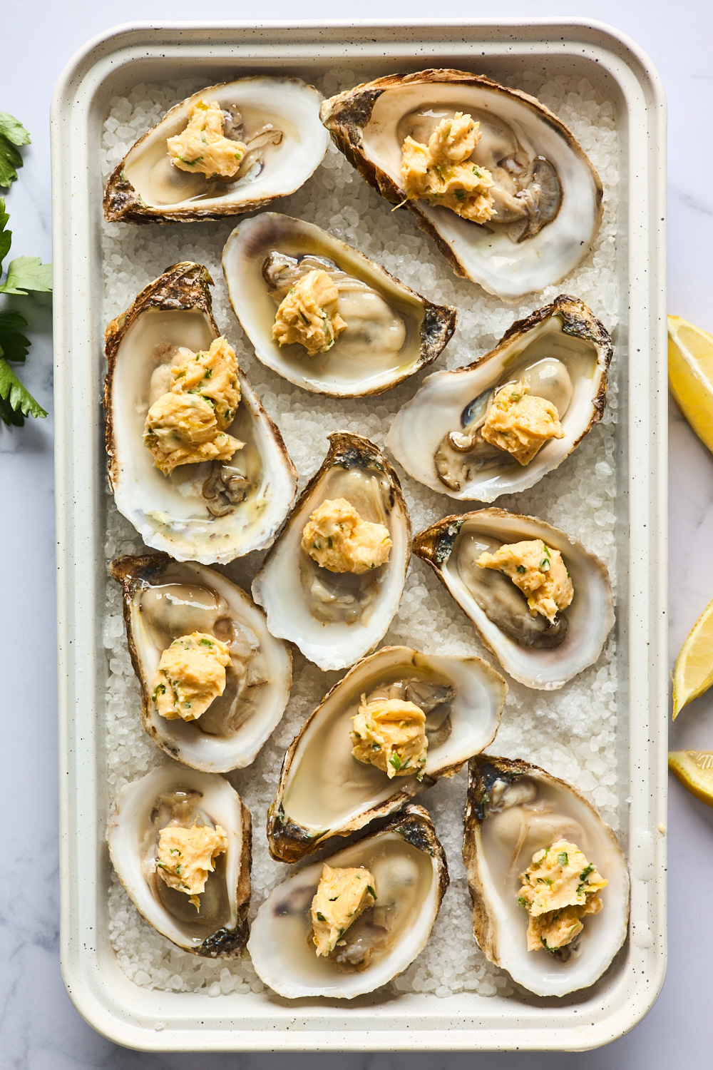 Spicy Butter and Herb Baked Oysters