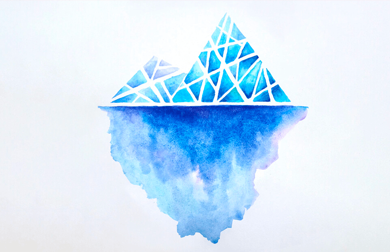 A blue abstracted iceberg made up of different shapes, with a large reflection of the iceberg on the water's surface
