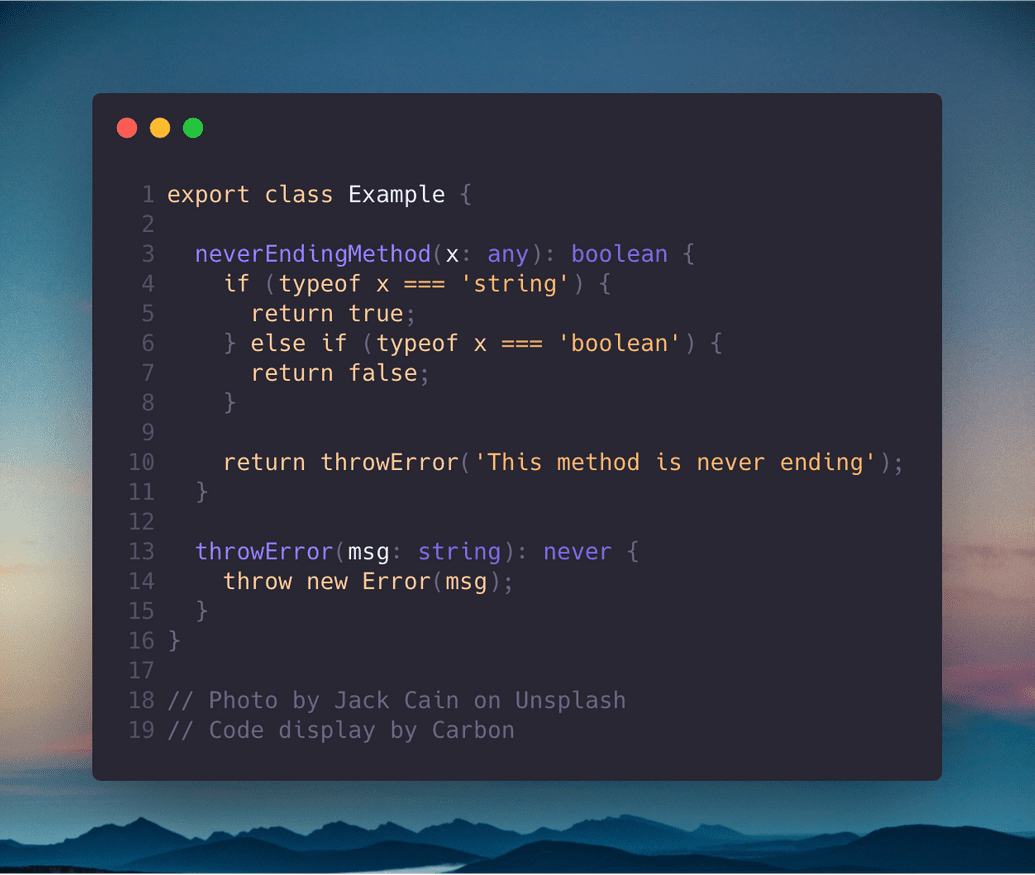 typescript never type