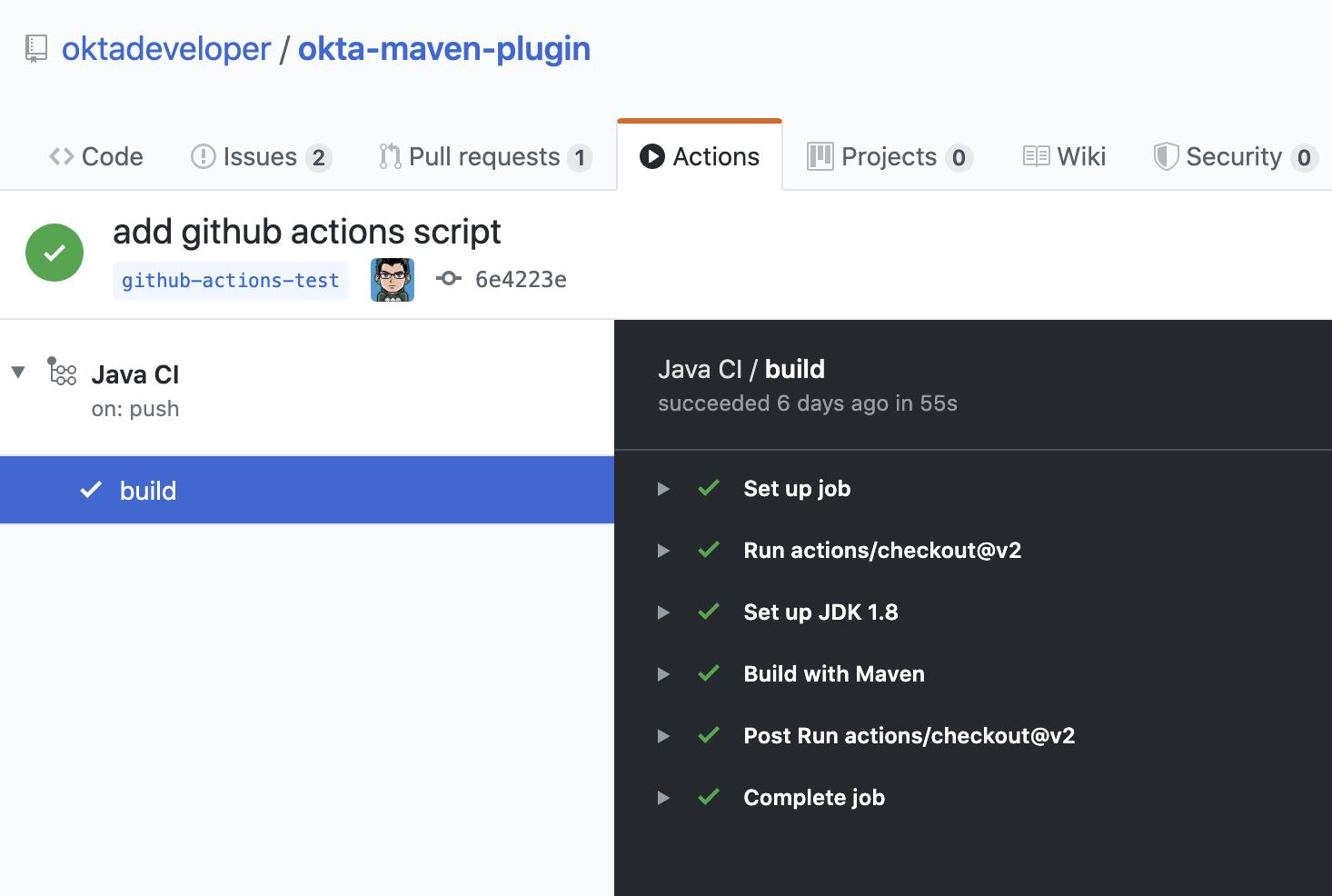 GitHub Actions tab screenshot