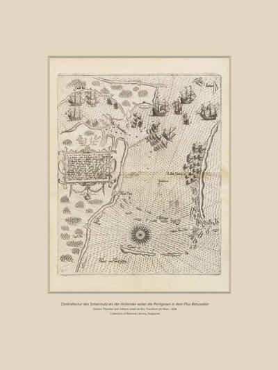 """Contrafactur des Scharmutz els der Hollander wider die Portigesen in dem Flus Batusabar"", by Johann Theodor and Johann Israel de Bry (1606)."