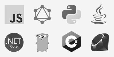 JavaScript, GraphQL, Python, Java, .NET Core, GoLang, C#, Ruby