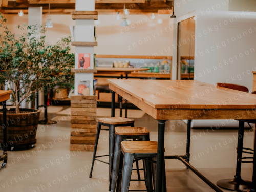 Cafe Virtual Background for Zoom with high table and stools