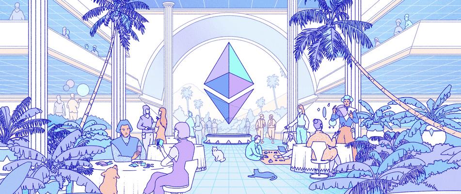Eine Illustration von Charakteren in einem sozialen Raum, der Ethereum mit einem großen ETH-Logo gewidmet ist