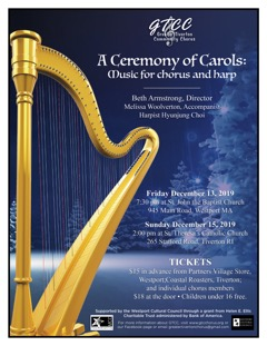 Poster for the Greater Tiverton Community Chorus Winter 2020 Concert: A Ceremony of Carols