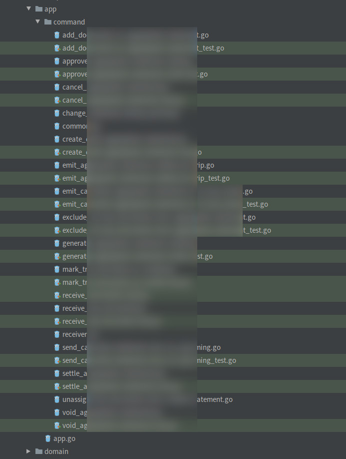 Example commands list of a complex application
