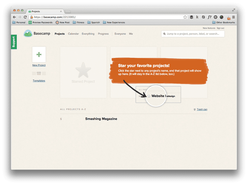 Screenshot of No projects in Basecamp 2