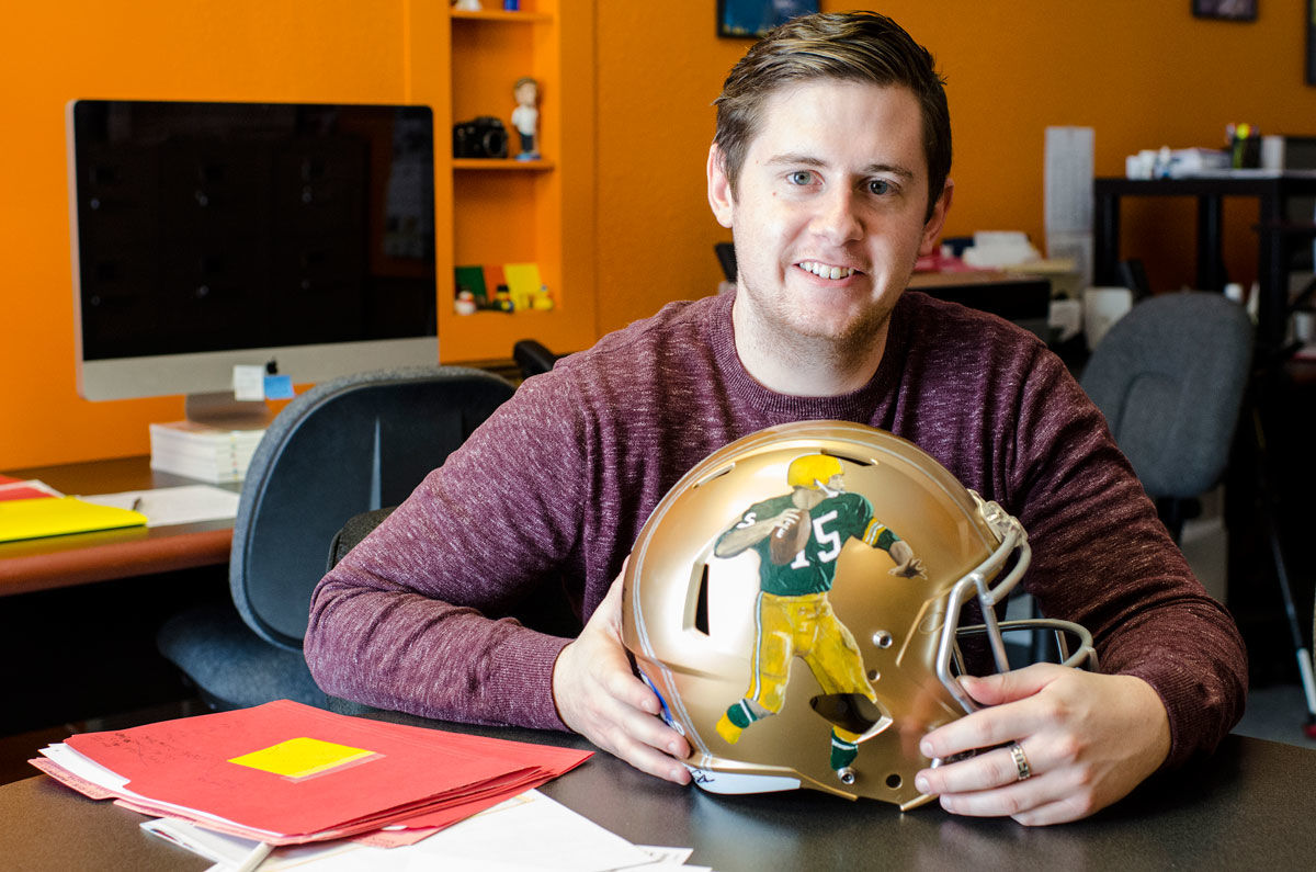 Zane Statz Super Bowl 50 Painted CBS Golden Packer Helmet