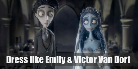 Emily wears a billowing white wedding gown with a sweetheart neckline and long blue hair is framed with a long, lacy veil. Victor looks dapper and very gentleman-like.