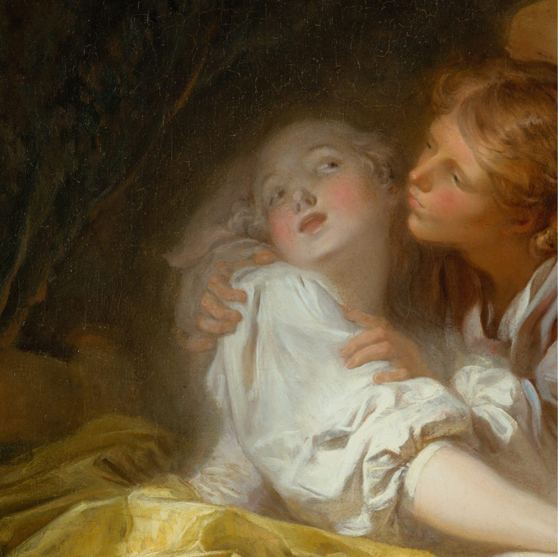 Фрагмент картины Жана-Оноре Фрагонара «Выигранный поцелуй» (ок. 1760) с обложки книги «Оргазм, или Любовные утехи наЗападе»
