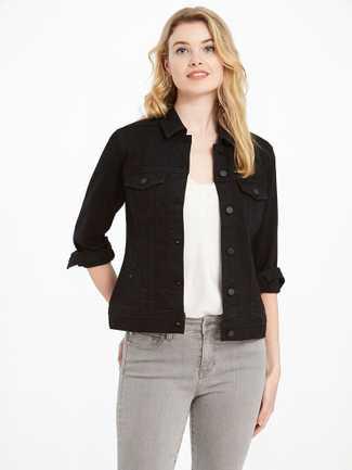 Liverpool Black Jean Jacket Eco Power Flex w/Tonal Black Buttons