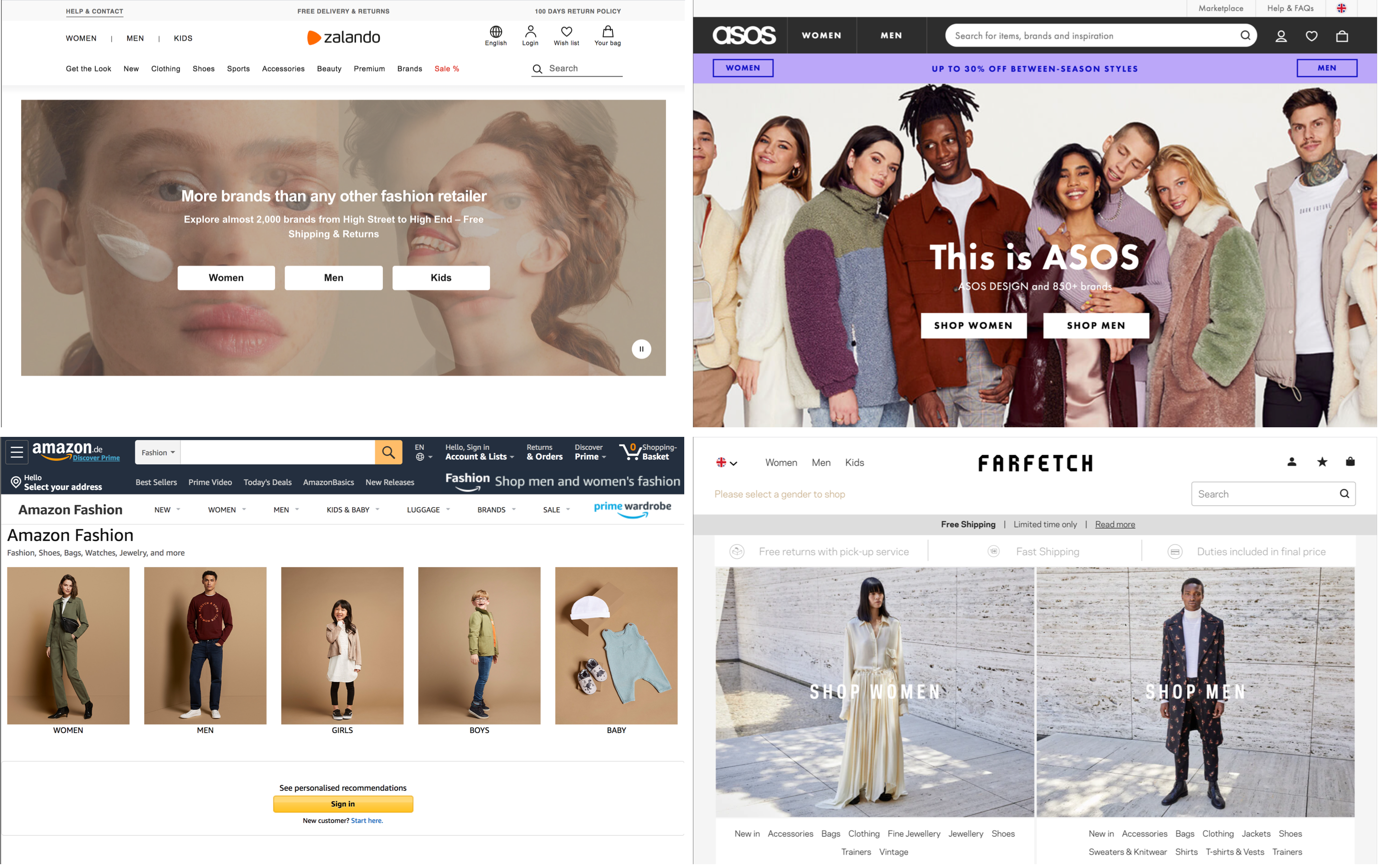 Screenshots of the homepages of four leading fashion websites, all categorized by mens and womens clothing