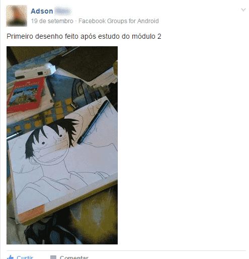 Depoimento dos alunos sobre o curso com o desenho do luffy