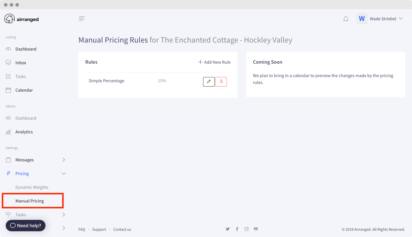 Go to Manual Pricing Settings