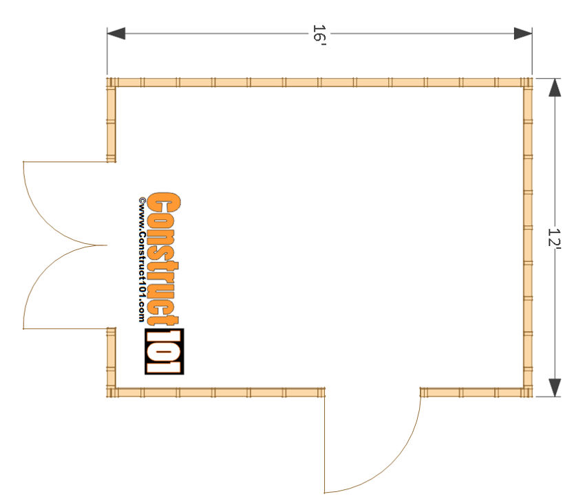 Construct101's free 12x16' shed plans which will work well as a backyard office/studio space, especially with the two door design which will increase accessibility and light.
