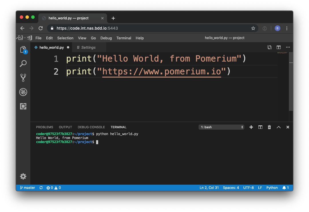 visual studio code pomerium hello world