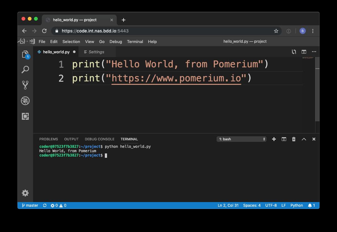visual studio code pomerium hello world