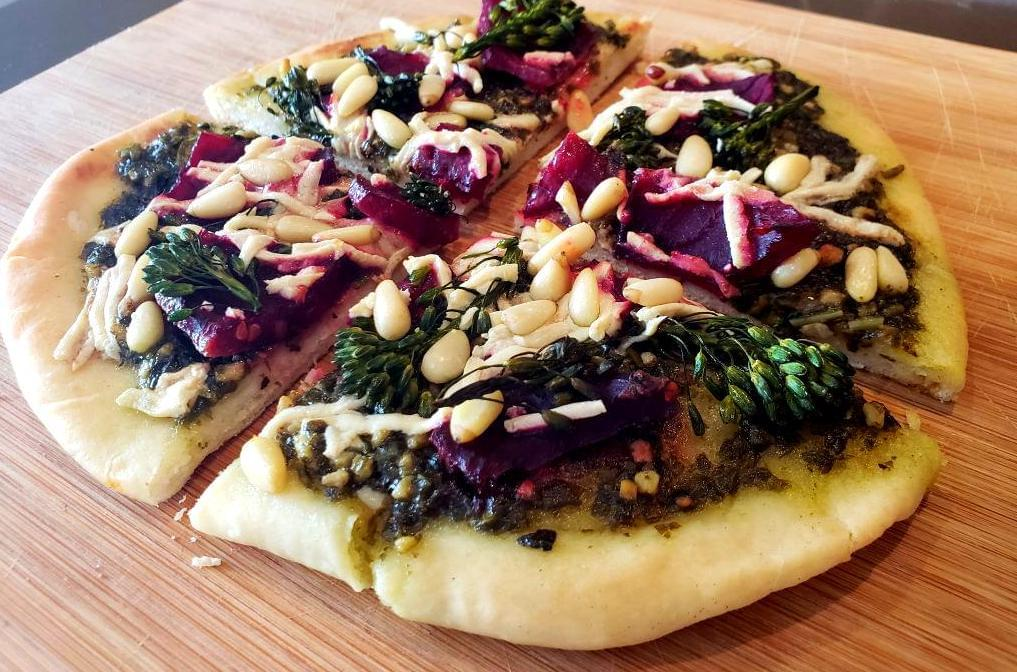 Balsamic beet flatbread with pine nuts