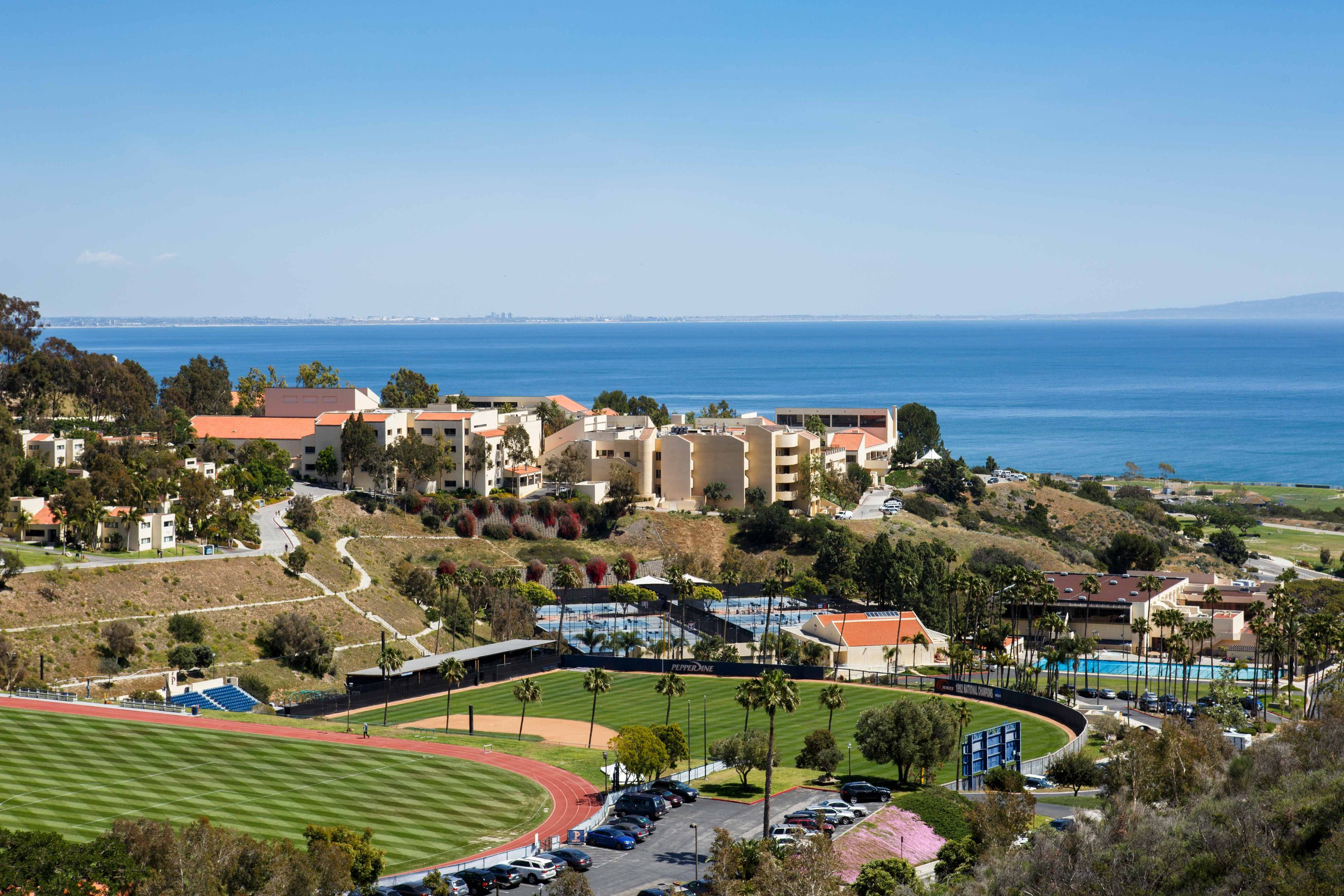 Pepperdine University sports facilities and campus buildings with the Pacific ocean and Los Angeles in the background