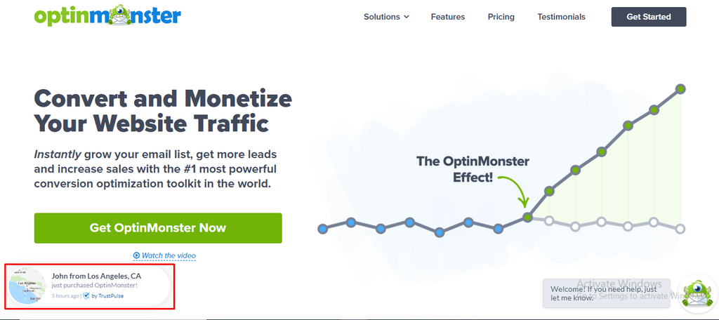 Optinmonster sales notificatoin