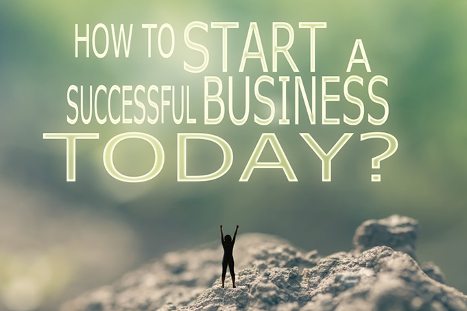 A tiny man standing on a mountain with the words how to start a successful business today.