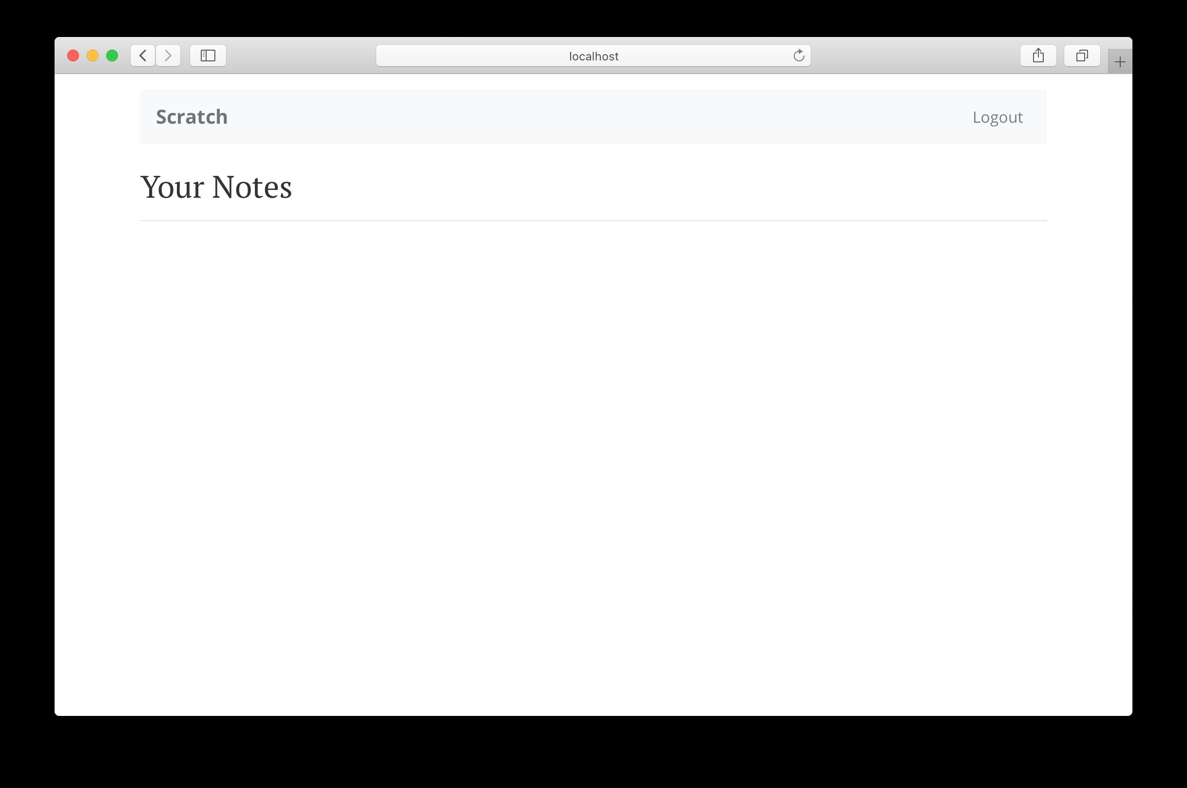 Empty homepage loaded screenshot