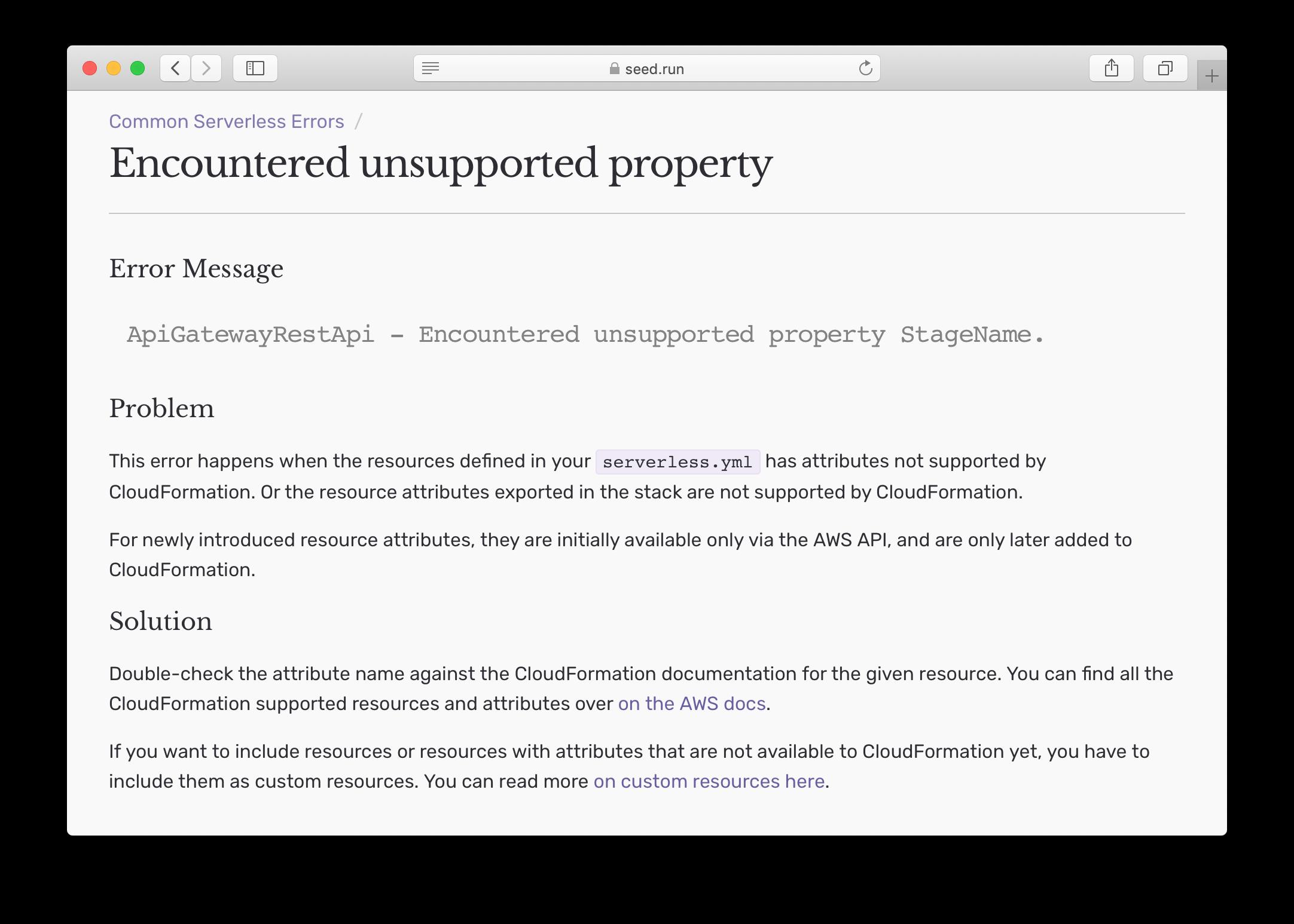 Common Serverless Errors doc screenshot